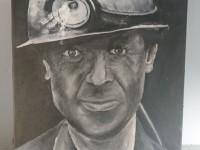 Tableau mineur peinture charbon Alès HBC houillères