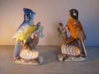 Paire d'oiseaux décoratifs - Mésange Moineau céramique porcelaine polychrome statuette