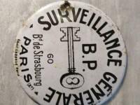 Petite plaque émaillée clef- surveillance générale B.P 60 bd de starsbourg PARIS email Laborde sécurité