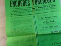 Affiche vente au enchères publiques 1969 ST-LAURENT-LES-BAINS écurie lande