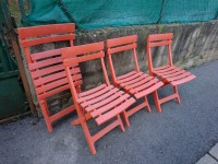 Lot de 4 chaises pliantes rouge/orange