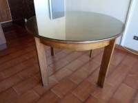 Table bois massif dessus verre ronde
