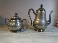 Gerhardi & Co sucrier et théière en métal argenté 1857