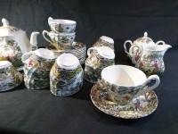 Service à café thé en faïence anglaise - Myott décor scène champêtre