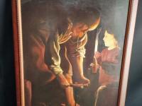Tableau reproduction George de la Tour - Saint Joseph charpentier.