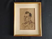 Portrait militaire en tenue dessin sur papier