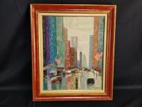 Hst - Gilbert Artaud - grattes ciel et drapeaux américains